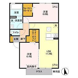 JR高崎線 鴻巣駅 バス19分 赤城下車 徒歩1分の賃貸アパート 1階2LDKの間取り