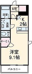 名古屋市営東山線 一社駅 徒歩1分の賃貸マンション 2階1Kの間取り