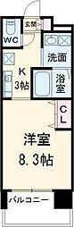 名古屋市営東山線 本山駅 徒歩2分の賃貸マンション 8階1Kの間取り