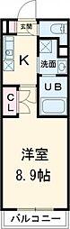 名古屋市営東山線 一社駅 徒歩3分の賃貸マンション 2階1Kの間取り