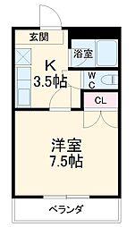 名鉄犬山線 柏森駅 3.2kmの賃貸アパート 1階1Kの間取り