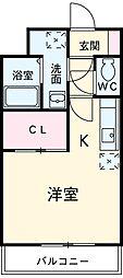 三岐鉄道三岐線 平津駅 徒歩2分の賃貸マンション 1階ワンルームの間取り