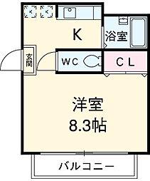 JR中央線 国分寺駅 徒歩4分の賃貸マンション 1階1Kの間取り