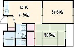 西武国分寺線 鷹の台駅 徒歩20分の賃貸アパート 2階2DKの間取り