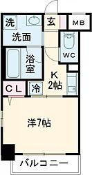 京王線 聖蹟桜ヶ丘駅 徒歩4分の賃貸マンション 2階1Kの間取り