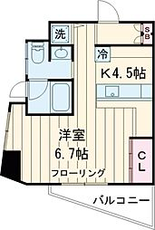 東急田園都市線 用賀駅 徒歩12分の賃貸マンション 3階1Kの間取り