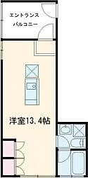 M HOUSE 2階ワンルームの間取り
