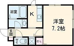 東急田園都市線 用賀駅 徒歩8分の賃貸マンション 3階1Kの間取り