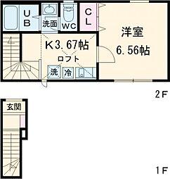小田急多摩線 唐木田駅 徒歩5分の賃貸アパート 2階1Kの間取り