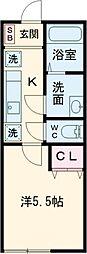 京王線 高幡不動駅 徒歩14分の賃貸アパート 1階1Kの間取り