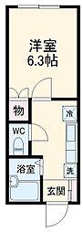 東急田園都市線 青葉台駅 バス12分 中谷都下車 徒歩1分の賃貸アパート 2階ワンルームの間取り