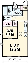 CAPE KANEKO B棟 1階1LDKの間取り