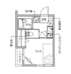 東急目黒線 不動前駅 徒歩9分の賃貸マンション 2階1Kの間取り
