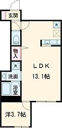 小田急小田原線 経堂駅 徒歩10分の賃貸アパート 3階1LDKの間取り