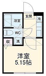 横浜市営地下鉄ブルーライン 上永谷駅 徒歩6分の賃貸アパート 2階1Kの間取り