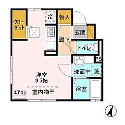 JR高崎線 本庄駅 徒歩27分の賃貸アパート 1階ワンルームの間取り