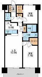 東京メトロ日比谷線 南千住駅 徒歩9分の賃貸マンション 5階2LDKの間取り