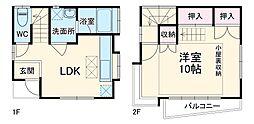 東武草加両新田西町貸家 1階1LDKの間取り