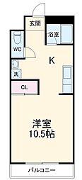 クオリティマンションK・K 1階1Kの間取り