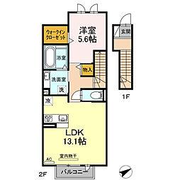 名鉄三河線 三河高浜駅 5.2kmの賃貸アパート 2階1LDKの間取り