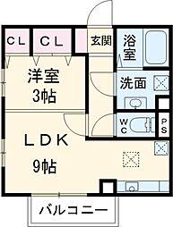 名鉄三河線 土橋駅 徒歩6分の賃貸アパート 2階1LDKの間取り