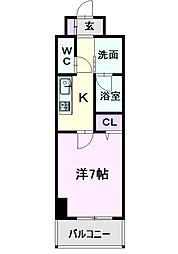 名古屋市営東山線 中村日赤駅 徒歩5分の賃貸マンション 6階1Kの間取り