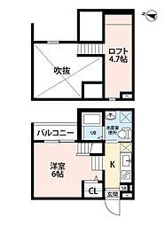名古屋市営東山線 八田駅 徒歩10分の賃貸アパート 2階ワンルームの間取り