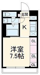 名古屋市営桜通線 瑞穂区役所駅 徒歩9分の賃貸アパート 2階1Kの間取り