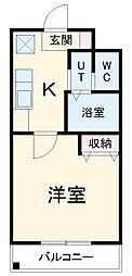名鉄常滑線 大同町駅 徒歩7分の賃貸マンション 3階1Kの間取り