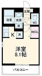 JR武蔵野線 東浦和駅 徒歩8分の賃貸マンション 2階1Kの間取り