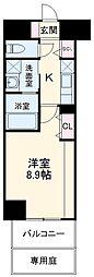 ロイヤルスクエア徳川 2階1Kの間取り