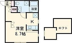 JR両毛線 前橋大島駅 徒歩16分の賃貸アパート 2階1Kの間取り