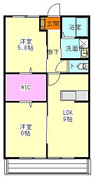 JR吾妻線 群馬原町駅 徒歩9分の賃貸アパート 2階2LDKの間取り