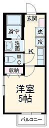 JR成田線 成田駅 徒歩25分の賃貸アパート 2階1Kの間取り