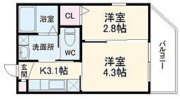 西鉄天神大牟田線 大橋駅 徒歩11分の賃貸マンション 2階2Kの間取り