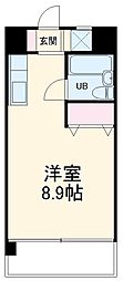 龍ハイツ 7階ワンルームの間取り
