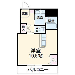 JR東海道・山陽本線 摂津富田駅 徒歩17分の賃貸マンション 2階ワンルームの間取り