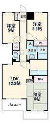 グランツ成田 2階3LDKの間取り
