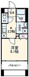 阪急宝塚本線 岡町駅 徒歩7分の賃貸マンション 13階1Kの間取り