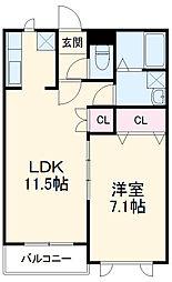 東武宇都宮線 東武宇都宮駅 徒歩33分の賃貸マンション 3階1LDKの間取り
