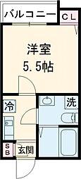 東急大井町線 下神明駅 徒歩7分の賃貸アパート 2階1Kの間取り