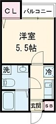 インベスト大崎6 3階1Kの間取り