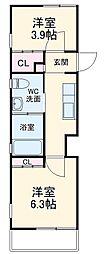 Abete横浜 A 1階2Kの間取り
