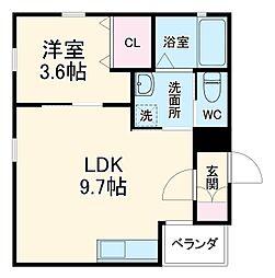 名鉄各務原線 名鉄岐阜駅 徒歩15分の賃貸アパート 1階1LDKの間取り