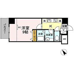 JR東海道本線 静岡駅 徒歩10分の賃貸マンション 2階1Kの間取り