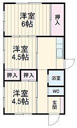 JR東海道本線 辻堂駅 徒歩11分の賃貸一戸建て 1階3DKの間取り