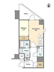 東急東横線 都立大学駅 徒歩4分の賃貸マンション 4階1DKの間取り