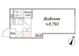 東急目黒線 不動前駅 徒歩8分の賃貸マンション 4階ワンルームの間取り