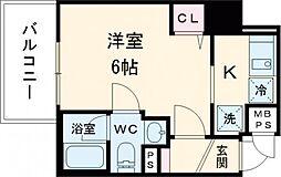 京急本線 立会川駅 徒歩2分の賃貸マンション 4階1Kの間取り