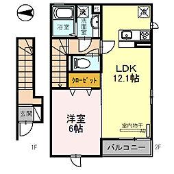 アレーズK 2階1LDKの間取り